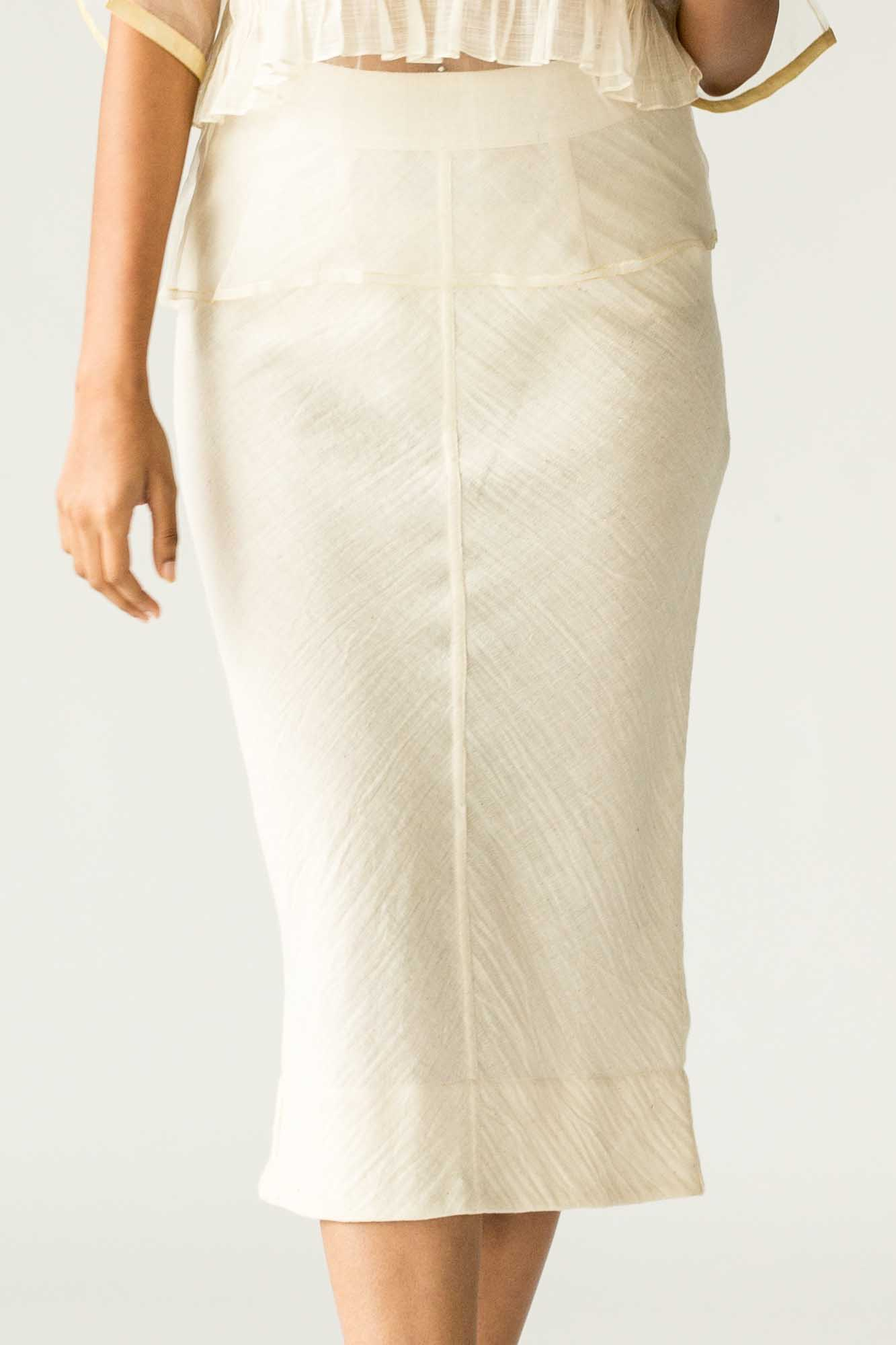 Raw White Pencil Skirt