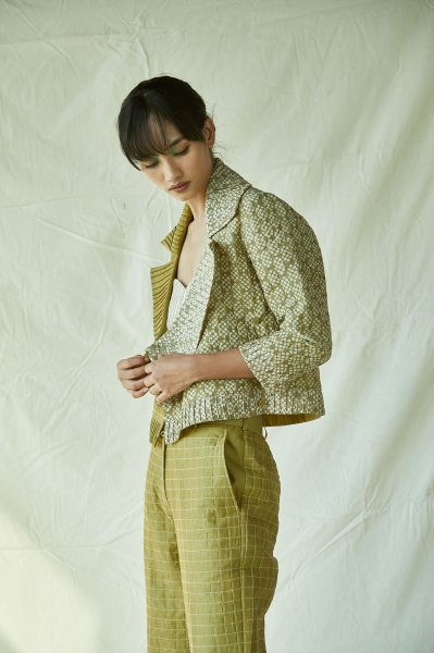QUILTED WRAP JACKET-GREEN