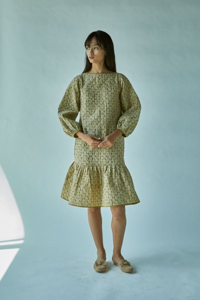QUILTED BATIK DRESS-GREEN