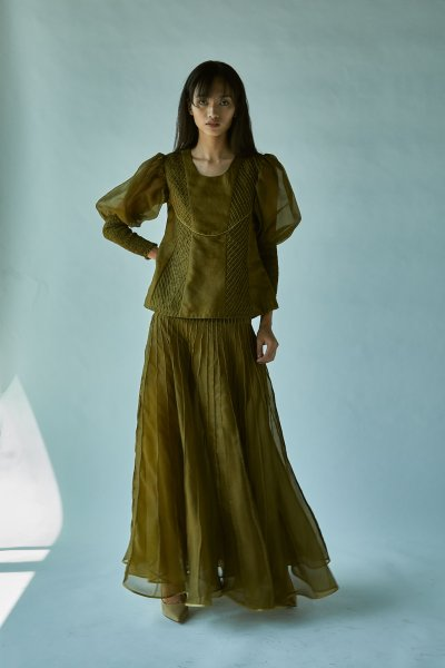 BALLOONED SLEEVE SILK ORGANZA TOP-GREEN