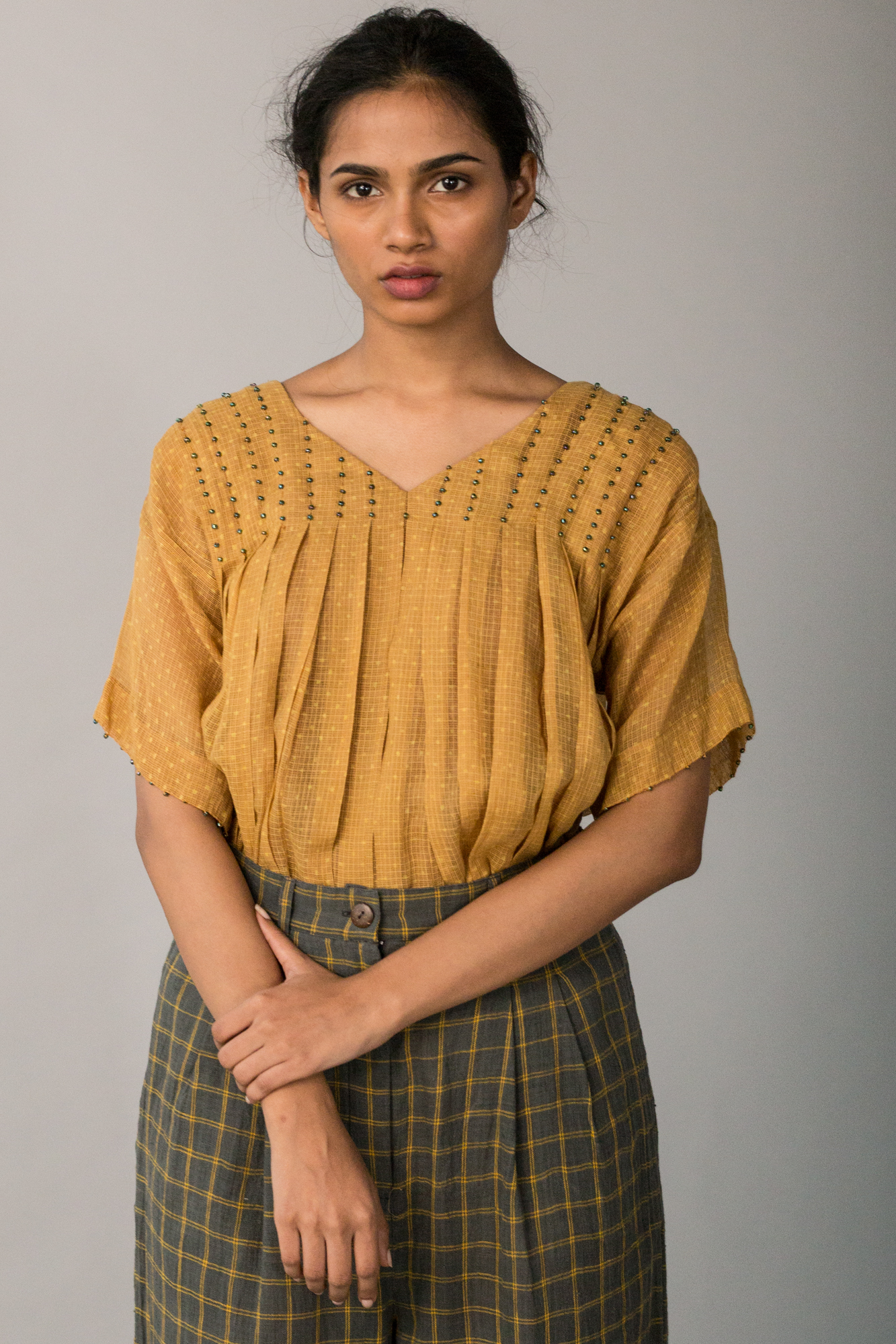 MUSTARD KOTA PLEATED TOP