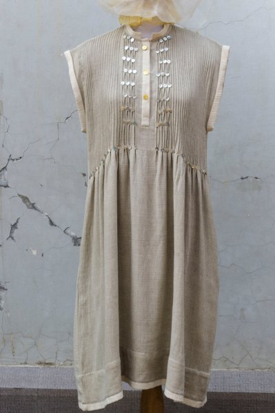 PLEATED YOKE DRESS