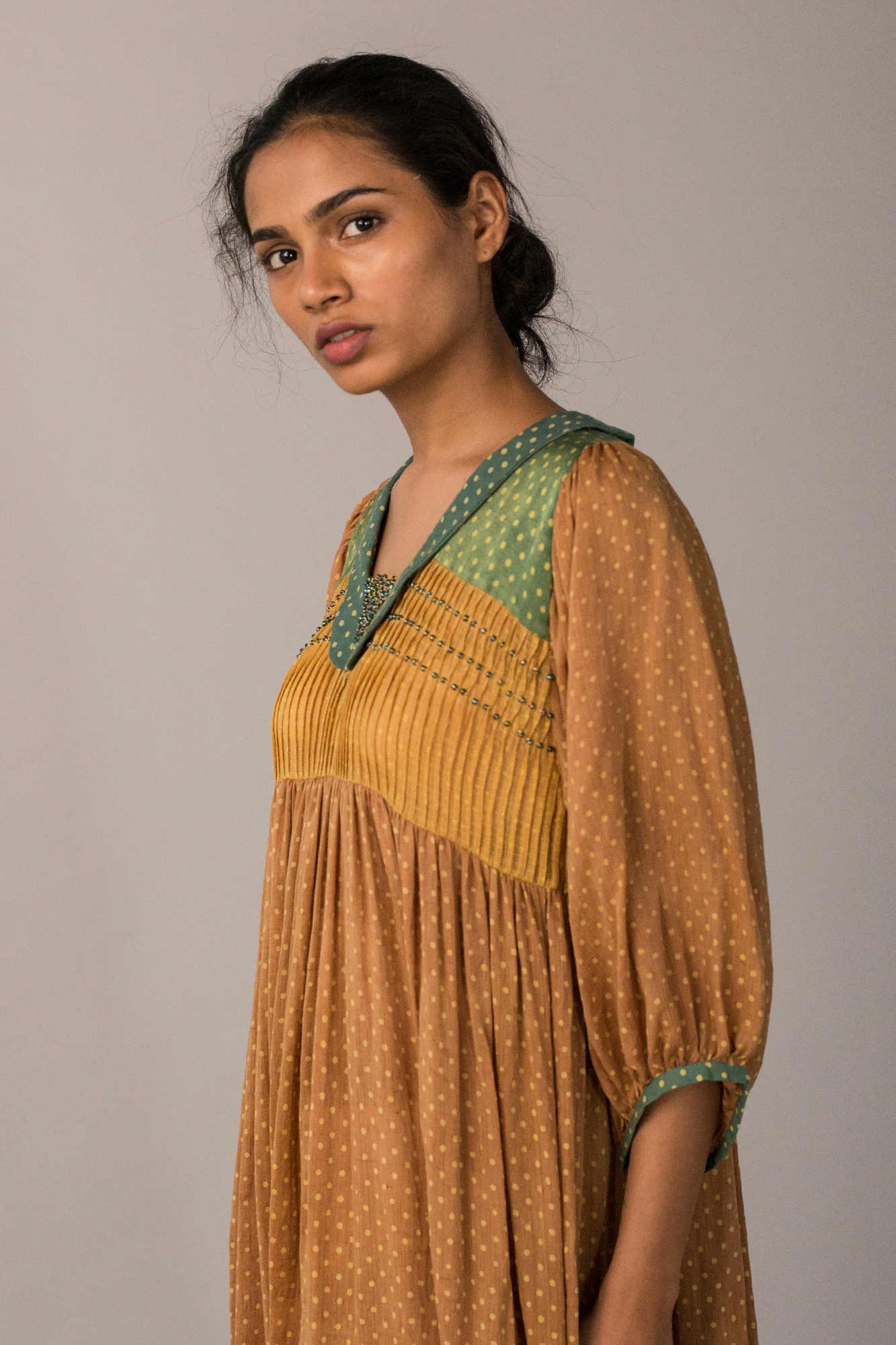 RUST PLEATED YOKE MIDI